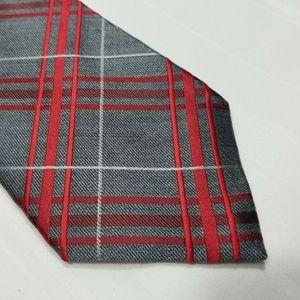 Gray & Red Silk EXPRESS Plaid Tie